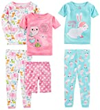 Simple Joys by Carter's Baby Girls 6-Piece Snug Fit Cotton Pajama Set, Bunny/Animals Green, 12 Months