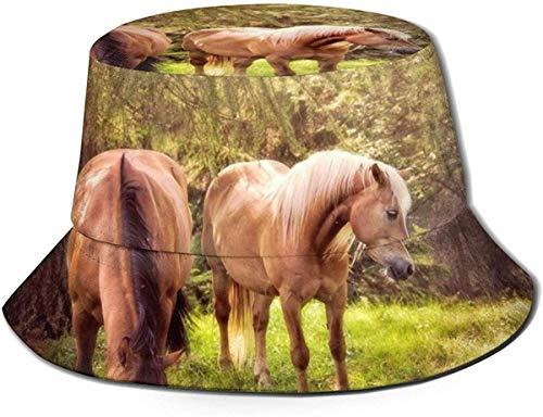 Sombreros de Cubo Transpirables con Parte Superior Plana Unisex Sombrero de Cubo de Erizo de Dibujos Animados Sombrero de Pescador de Verano-Hermosos Caballos en el Bosque-Talla única