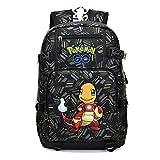 Pokémon Anime Sac a Dos, Pikachu 3D Imprimé Sacs Scolaires Pikachu Squirtle Psyduck Japonais Anime Grande Capacité Durable Cartables pour Filles Garçons Enfants (XHLJX,30 * 15 * 46.5CM)