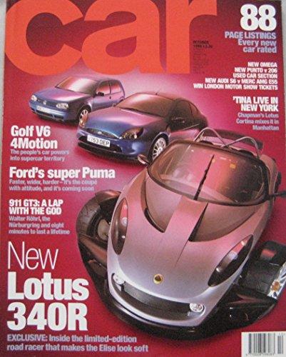 CAR magazine 10/1999 featuring Lotus 340R, Ford Racing Puma, VW, Mercedes,...