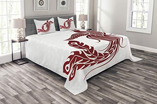 ABAKUHAUS Phönix Tagesdecke Set, Traditioneller Chinesischer Vogel, Set mit Kissenbezügen Sommerdecke, für Doppelbetten 220 x 220 cm, Weiß Rubin