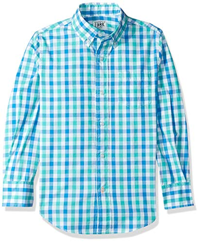 Look By Crewcuts Langarmshirt für Jungs, Gingham, Blue/ Green Check, 8