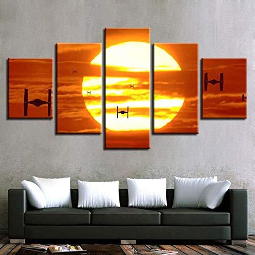 KOPASD - 5 Teiliger - Star Wars Krawatte Kämpfer Sonnenuntergang - 200x100 cm - Leinwandbilder - Fertig Aufgespannt - Vlies Leinwand - Kunstdrucke - Wandbild