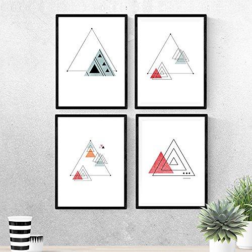 Set van 4 platen voor het frame van RUMBO. Posters in Scandinavische stijl met driehoeken voor huisdecoratie. Prints met geometrische vormen in de kleuren rood en blauw. A4-formaat. Versier je huis met onze posters in minimalistische stijl. Vel gedrukt op hoogwaardig papier (250 gram) met resistente inkten. Ontwerp product NACNIC
