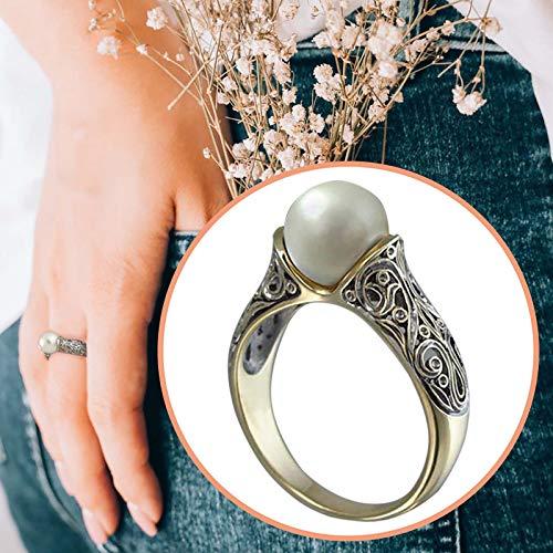 Janly Clearance Sale Anillos para mujer, anillo vintage esculpido de oro antiguo, para novia, boda, compromiso, día de San Valentín, cumpleaños, regalo para damas y niñas (10)