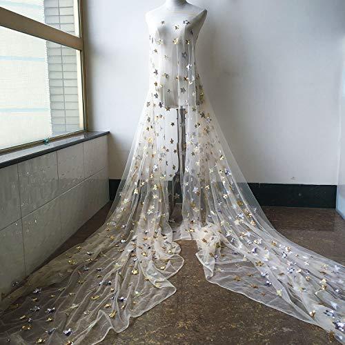 Dreamed - Tela de encaje con lentejuelas y estrella de encaje de tul suave para vestidos de fiesta, disfraces líricos de 51 pulgadas de ancho, se vende por 1 metro (albaricoque)