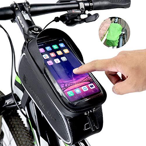 snawowo Fahrrad Rahmentasche wasserdichte Fahrradtasche Oberrohrtasche Handytasche mit Sonnenblende Kopfhörerloch TPU Touchscreen Fahrrad Handyhalter für Smartphones bis 6.5 Zoll