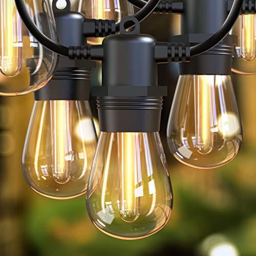 S14 Outdoor LED String Lights 30M/101ft, IP65 Festoon Lights String Outdoor Connectable Outdoor Garden String led Lights for Commercial Patio, Backyard, Cafe, Wedding-30+2 Plastics Bulbs