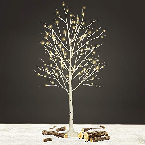 NETTA 5FT Birch Twig Tree With 120 Warm White LED Lights, With Timer And 8 Functions To Choose,Indoor Or Outdoor Use-White.