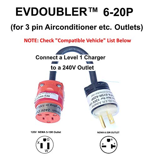 Fits Ford Fusion Focus C-Max Energi. The Amazing EVDOUBLER is a Low Cost Upgrade Adapter Just Plug it in Charges Fast Like a Level 2 Electric Vehicle Car EVSE Charger Needs a NEMA 6-20R Outlet