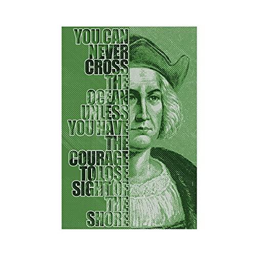 Póster de Christopher Colón con citas motivacionales, lienzo para dormitorio, decoración de oficina, dormitorio, decoración de dormitorio, decoración de dormitorio, regalo de 40 x 60 cm