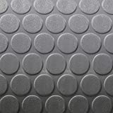 RecPro Trailer Coin Flooring | Gray | 8' 6' Wide | Nickel Pattern RV Flooring | Gym Flooring | Garage Flooring (15ft)