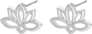 SENFAI Latest Lotus Flower Charm Ear Stud True Gold Plating Earring (Silver)