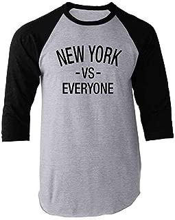 New York vs Everyone Sports Fan Raglan Baseball Tee Shirt