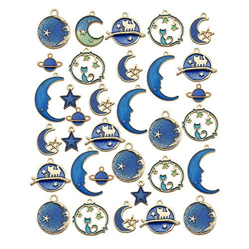 iloveDIYbeads 40pcs Assorted Gold Plated Enamel Cat Moon Star Earth Planet Charms for Jewelry Making DIY Necklace Bracelet Dangle Hook Earring (M275)