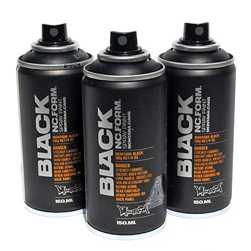 Montana Black Spray Paint Set of 3 Pocket Sized 150ml High Pressure Cans for Murals and Graffiti Street Art (Black)