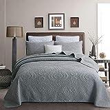 Brandream Queen-Size-Bettwäsche-Set, graue Baumwolle, Tagesdecke, Bettbezug-Set aus Baumwolle (96 x 104 cm) mit Kissenbezügen in Standardgröße, 3-teiliges Luxus-Bettwäsche-Set mit Damast-Stickerei