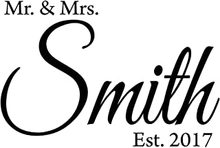 VWAQ Mr. & Mrs. Custom Wall Decal with Date Established -Insert Name- Personalized Wedding Decal CS6 (15