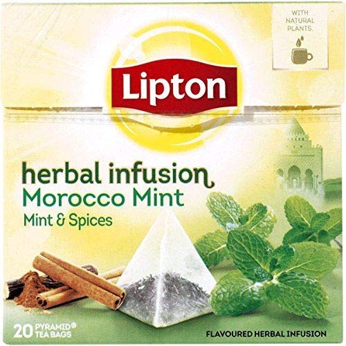 Lipton MOROCCO MINT (mint and spices) Tea Bags - Sealed Boxes of 6 x 20 bags = 120 pyramid tea bags