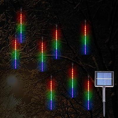 Solar Meteor Shower Rain Lights, 144LED 8 Tubes Romantic Falling Rain Drop Christmas Lights for Wedding Party Christmas Patio Outdoor Decoration (Multicolor)