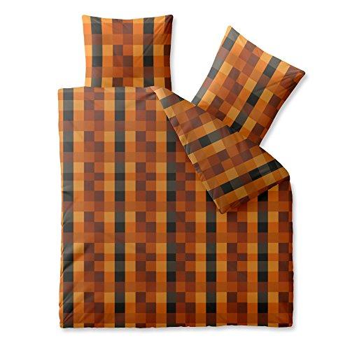 CelinaTex Harmony Bettwäsche 200 x 200 cm Mikrofaser Bettbezug Alisa Kariert Orange Braun Schwarz