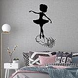Calcomanías de pared para niña, silueta de bailarina, estudio de ballet, estudio de baile, decoración, pluma de pájaro, arte, vinilo A6 42x67cm