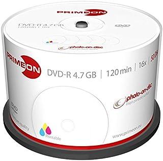 PRIMEON DVD-R 4.7GB/120Min/16x Cakebox (50 Disc), 2761206 ((50 Disc) Photo-on-disc Surface, Inkjet Fullsize Printable)