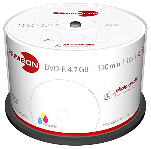 PRIMEON DVD-R 4.7GB/120Min/16x Cakebox, photo-on-disc, Inkjet Full Size Printable Surface (50 Disc)