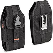 AGOZ Carrying Case for ZTE Blade MAX View Z610DL, ZTE ZMAX PRO Z981, ZTE Blade ZMAX Z982, Heavy Duty Rugged Canvas Vertical Holster Pouch Cover with Metal Clip, Belt Loops, Card Slot, Front Buckle