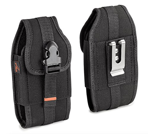 AGOZ Carrying Case for Huawei Ascend XT H1611, Heavy Duty Rugged Canvas Vertical Holster Pouch Cover with Metal Clip, Belt Loops, Card Slot & Front Buckle Clip