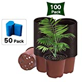 Bershaker Nursery Pots,100 Packs 6 Inches Plastic Plant Nursery Pots with 50 Pcs Plant Labels, Seed Starting Pot Flower Plant Container for Succulents, Seedlings, Cuttings, Transplanting