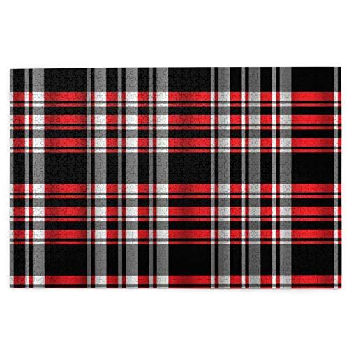 rompecabezas 1000 piezas para adultos Abstracto Sin costuras Madras Cuadros Rojo Negro Rayas Diseño Arte Puzzle Para Niños Niñas Mayores Regalos