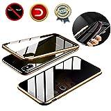 LucaSng Magnet Hülle für iPhone XS/X, 360 Grad Magnetisch Bumper Handyhülle, Magnetische Adsorption Privatsphäre Handyhülle Anti-Spähen Schützen Glas Folie Datenschutz Hülle für iPhone XS/X, Golden