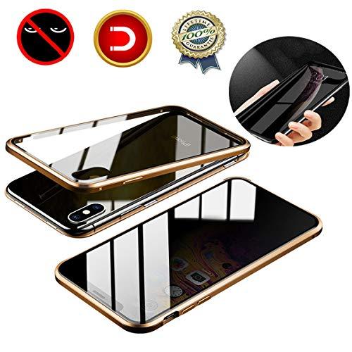 LucaSng Estuche Magnético de Privacidad para iPhone XS MAX, Protector de Pantalla de Privacidad de Vidrio Templado de Doble Cara Anti-pío Estuche Anti-espía para Teléfono para iPhone XS MAX, Oro
