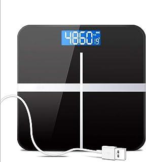 Zené Escala electrónica Báscula Accurate Home Health, de carga USB peso adulto Escala Pérdida dispositivo de pesaje, vidrio templado, pantalla LCD, Grande 180 kg de capacidad, de alta precisión - Negr
