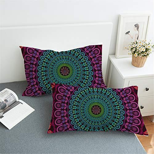 Koongso Boho - Fundas de almohada con diseño floral, 2 piezas exóticas bohemias geométricas de mandala floral con cierre de sobre.