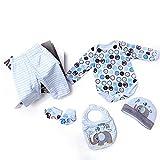 ZIYIUI Ropa de Muñeca Bebé niños y para New Born Baby Doll, Adorable Vestido de Algodón para Muñecas 48-55 cm, Paquete de 5,Set de ropita de Pijama niñas a Partir de 3 años