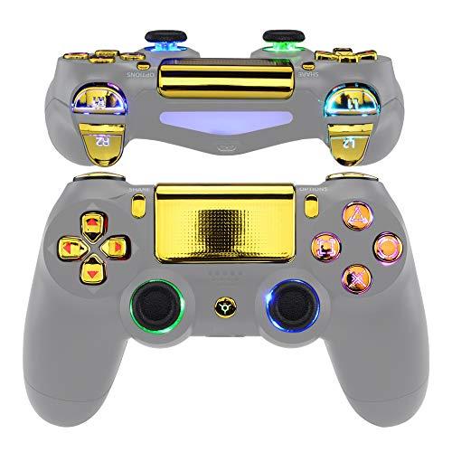 eXtremeRate Multicolori Tasti DTFS LED Kit per PS4 Levette Analogiche Joystick D-pad Trigger Pulsanti per Playstation 4 PS4 Pro Slim Controller CUH-ZCT2-NON Include Controller(Oro Cromo)