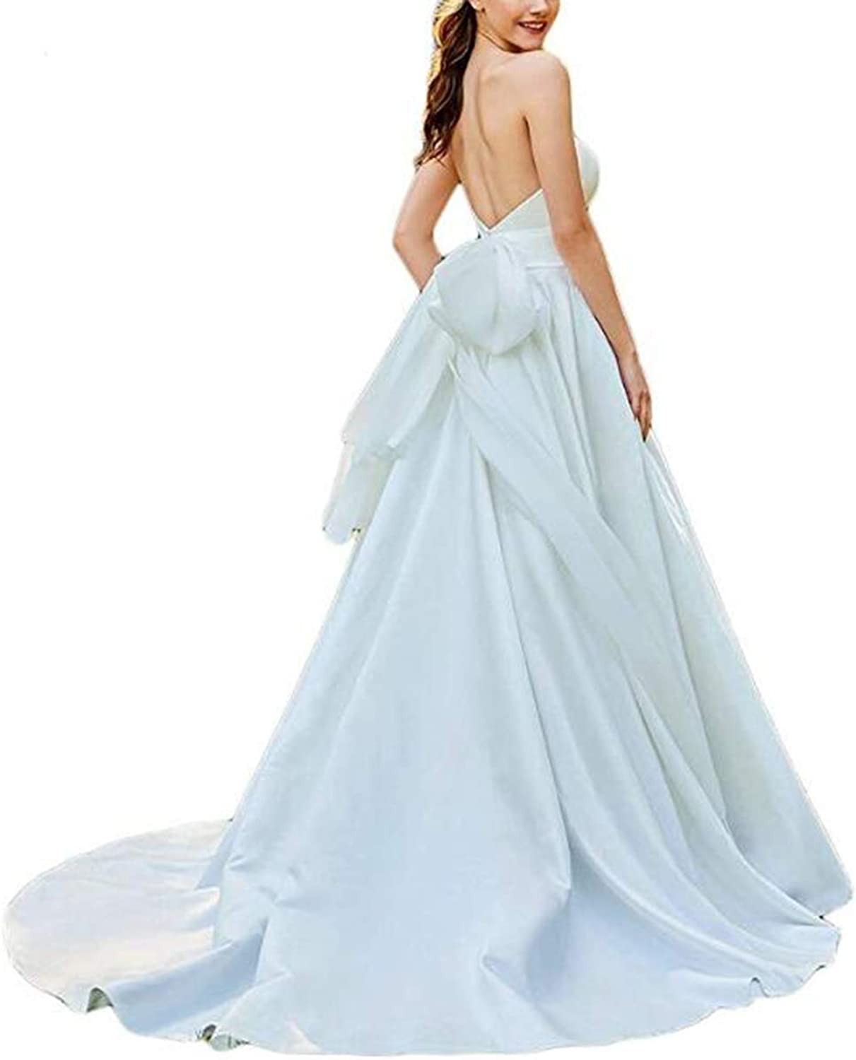 Alilith.Z Sexy Sweetheart Wedding Dresses for Bride 2019 Long Bridal Wedding Gowns for Women with Bowknot