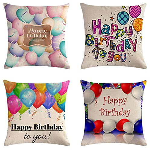 JOVEGSRVA Juego de 4 fundas de cojín de colores para globos impermeables, para patio, jardín, sala de estar, sofá, decoración de 45 x 45 cm