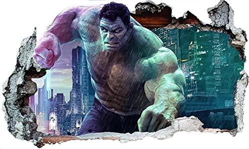 DT Poster Marvel Avengers Wandaufkleber Hulk Aufkleber 3d Wandkunst Tattoo Schlafzimmer Junge Mädchen (Groß) 100x60cm