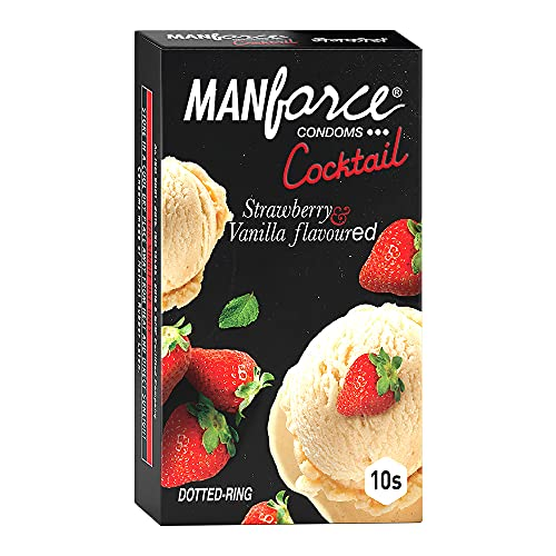 Manforce Cocktail Condoms with Dotted-Rings, Strawberry & Vanilla Flavoured- 10 Pieces