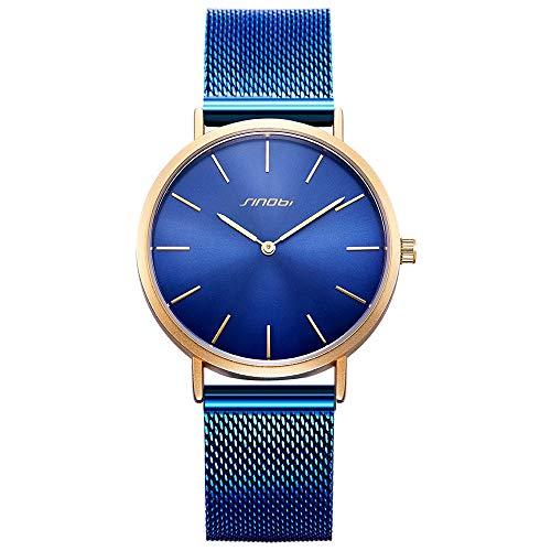 SINOBI Reloj de pulsera unisex de malla de acero inoxidable minimalista ultrafino, S9709G-calendario de esfera blanca,