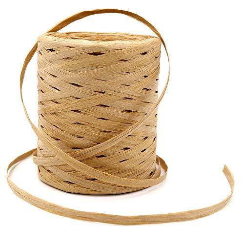 KINGLAKE 200 m Naturbast Papierband, Bast Raffia Natur papierschnur, Packschnur für handwerksprojekte, Geschenkverpackung, Weben und Gärtnern