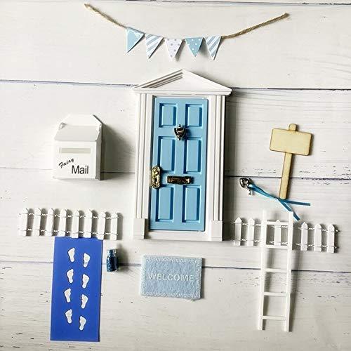 歯の妖精ドアキットドールハウス歯の妖精ドアミニチュアプラスチックDIY家具のおもちゃ魅惑の妖精のドアのためにキッドルームマウスの穴 (Color : Blue door set)