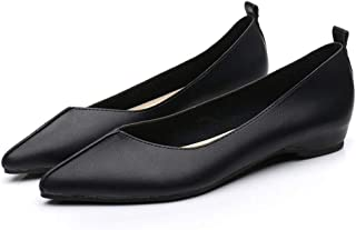 バレエシューズ ぺたんこ靴 パンプス フラットシューズ レデース ポインテッドトゥ 婦人用 オシャレ レザー 歩きやすい 幅広 走れる 通勤 通学 フォーマル ブラック