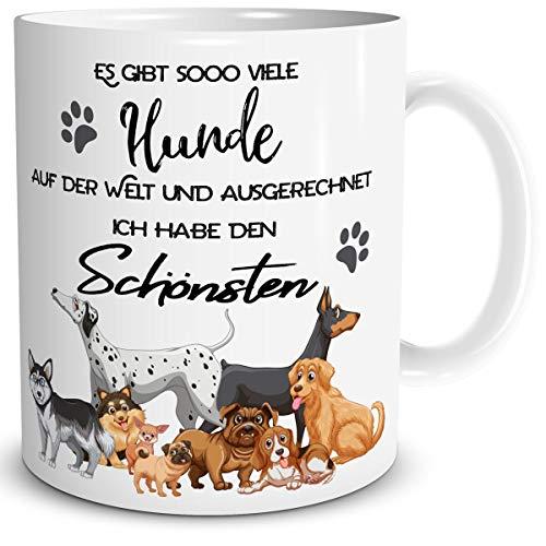 TRIOSK Tasse Hund mit Spruch lustig Es gibt so viele Hunde Hundemotiv Geschenk für Hundebesitzer Hundeliebhaber Frauen Männer