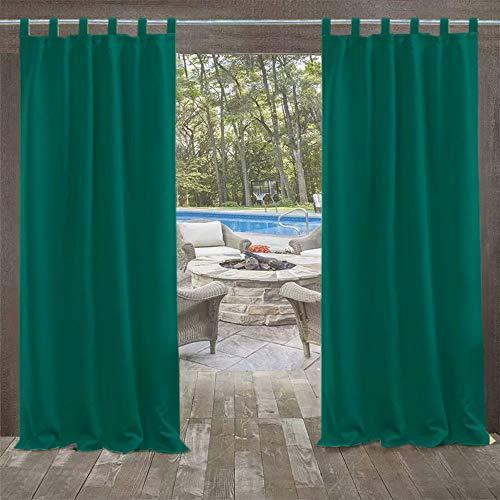 DOMDIL Outdoor vorhänge Gartenlauben Balkon-Vorhänge 132x275cm Verdunkelungsvorhänge mit Schlaufen, Vorhang Wasserdicht Mehltau beständig, Pavillon Strandhaus, 1 Stück (1 Pack),Türkis