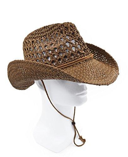 Melesh Adult Sun Straw Western Cowboy Hat (Coffee)