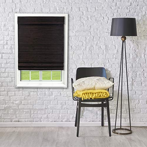 Lewis Hyman Radiance Cordless Bamboo Privacy Weave Roman Shade, 23 x 48, Espresso